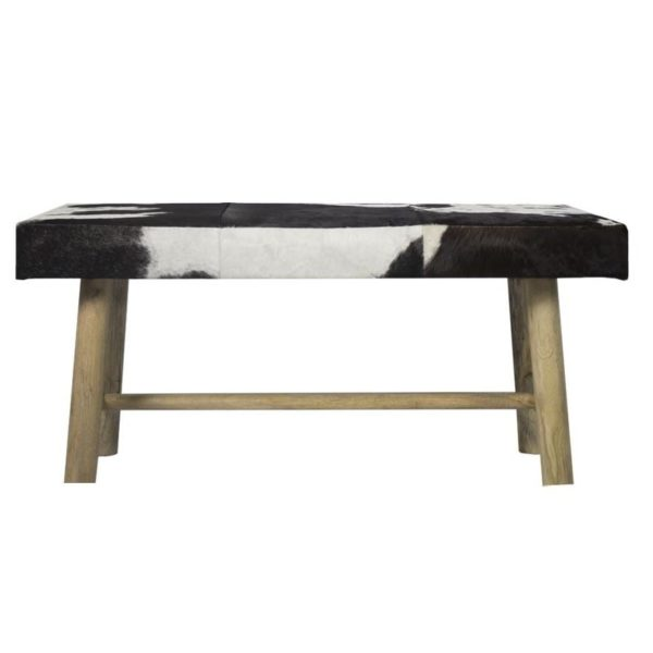 Bench Chalet Cow Black 95cm (bos Taurus Taurus) leather / wood - LifeDeals