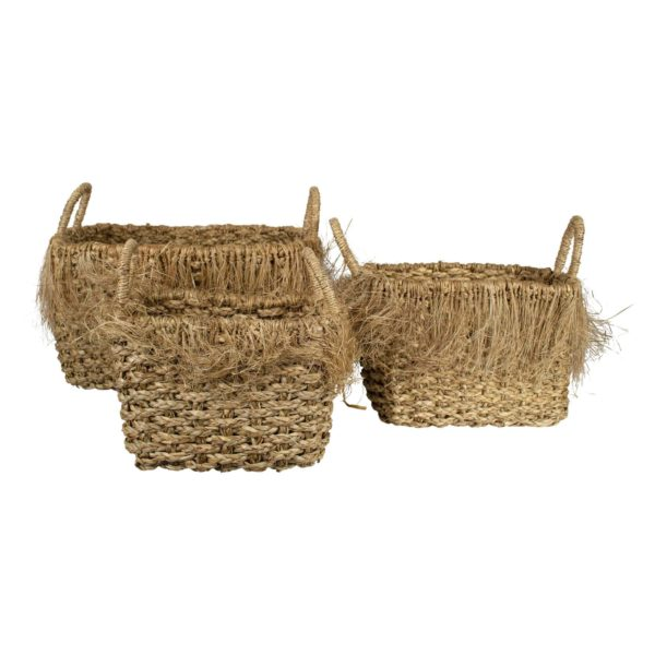 Seagrass Basket Fraying Rectangle (set Of 3) seagrass - LifeDeals