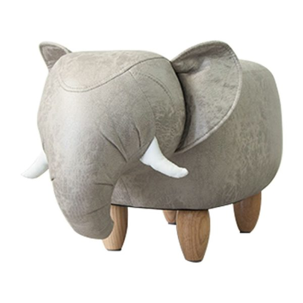 Stool Elephant artificial leather / wood - LifeDeals