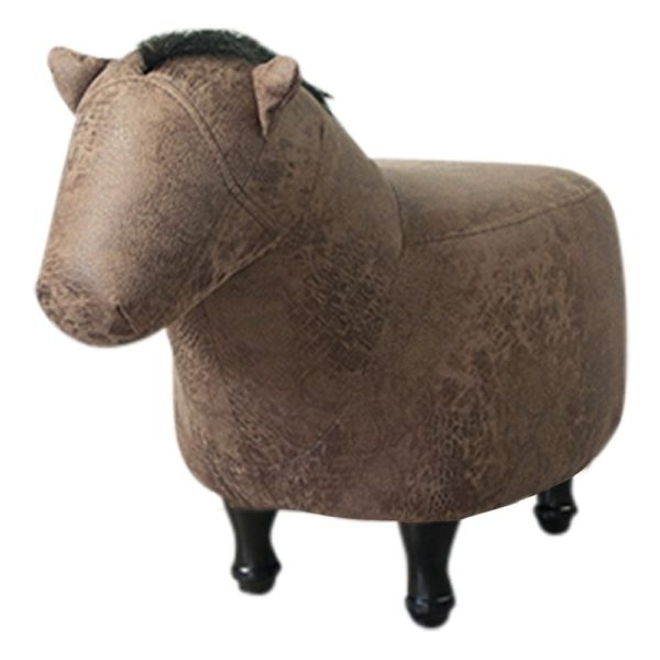 Stool Horse artificial leather / wood - LifeDeals